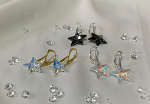 Aurora Borealis Star 24K Gold Plated Sterling Silver Earrings