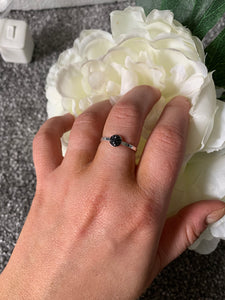 Tiny Black  Ring with Swarovski Crystals