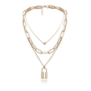 3 Layer Necklace Gold  Chocker with Heart and Padlock Charm Necklace