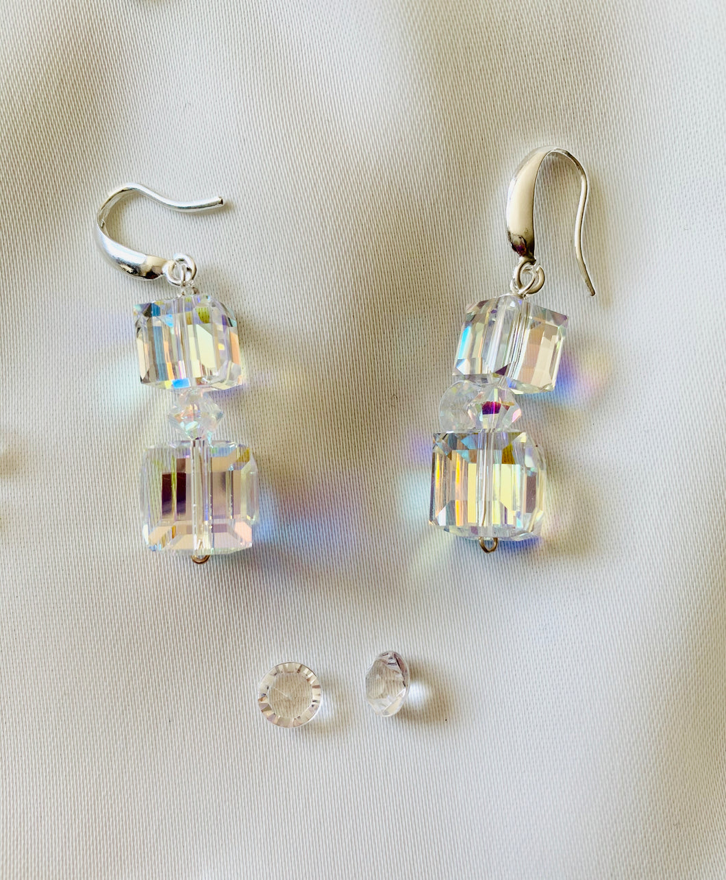Double Cube Dangle Earrings with Swarovski Crystals
