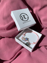 Load image into Gallery viewer, Pink Bracelet with Swarovski Cube and Initial