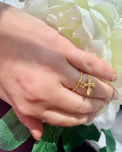 Adjustable Uni 24K Yellow Gold 925  Plated Sterling Silver Bee  Ring