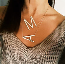Load image into Gallery viewer, Big Letters Sideways Stainless still  Necklace