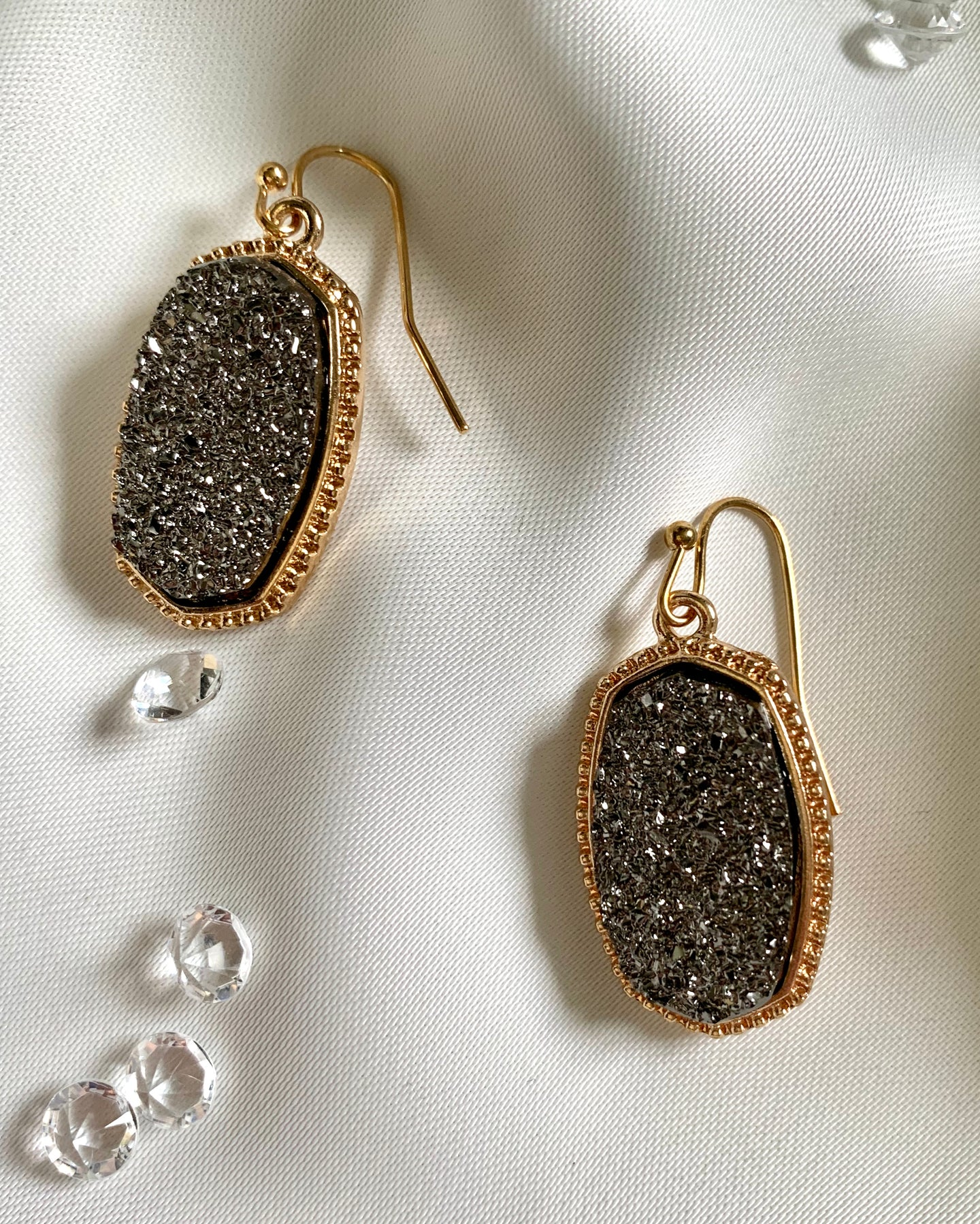 Drop Earrings with Big sparkly Stone