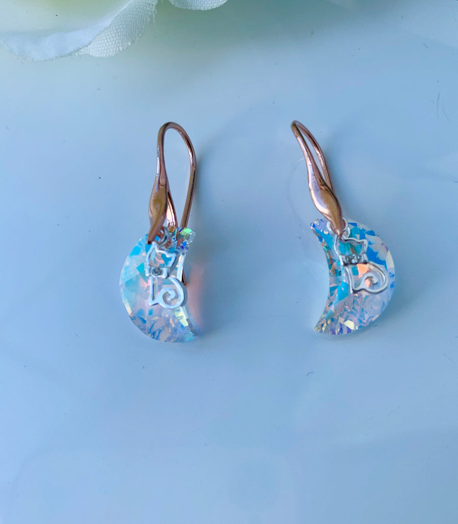 Aurora Borealis Crescent Moon And a Cat Earrings