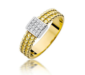 14K Gold Diamond Ring Cube RCBC-353