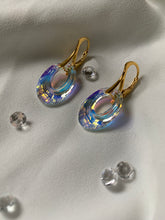 Load image into Gallery viewer, Aurora Borealis Drop Hoop Leverback Earrings