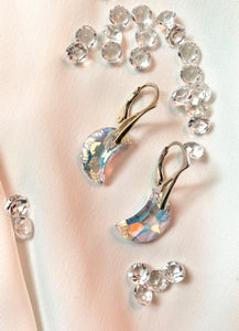 Moon Dangle Earrings with Swarovski Crystals
