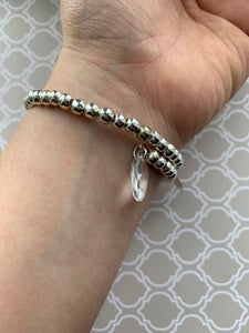 Silver Bracelet and 1 Initial with Swarovski Crystals