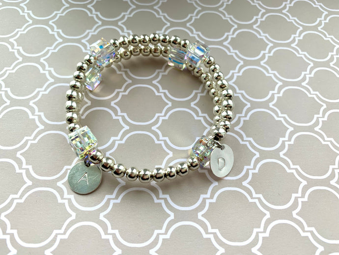 Silver Beaded Bracelet with Swarovski Crystal Cubes and Double Initials