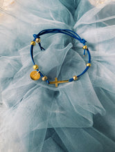 Load image into Gallery viewer, Blue Bracelet with Cross  and an Initial