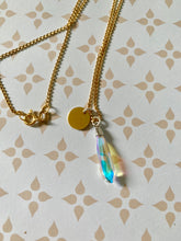 Load image into Gallery viewer, 24K Gold Plated Silver Aurora Tear-drop Disc Initial Pendant Necklace