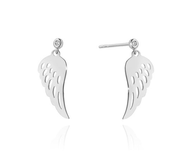 14K Gold Diamond Drop Angel Wings  Earrings RCK-12 0,03CT
