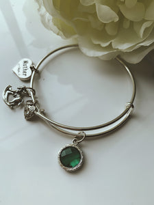 4Charms Silver Tone Mother Bangle
