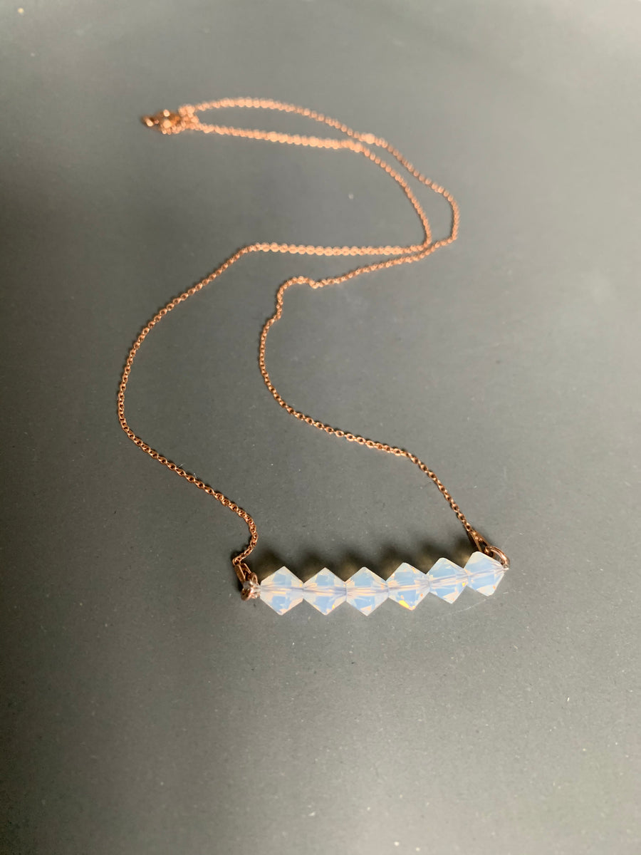 Rose Gold  Beaded Opal Necklace with Swarovski Crystals