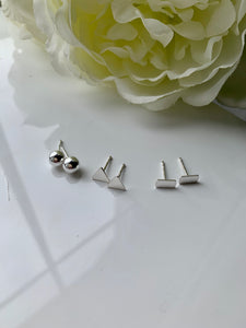 Mix and Match 3 types Silver 925 Stud Earrings
