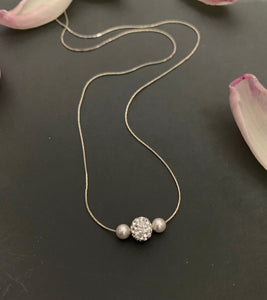 Three balls ( Crystal Pearls and Swarovski Crystal Necklace