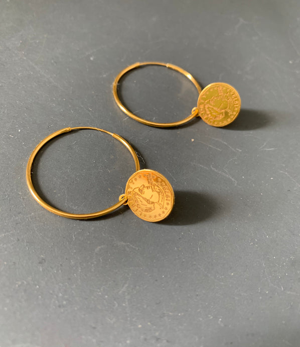 Liberty Disc Hoop Earrings