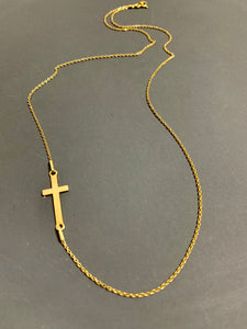 24K Gold Plated Sterling Silver Sideways Cross Necklace
