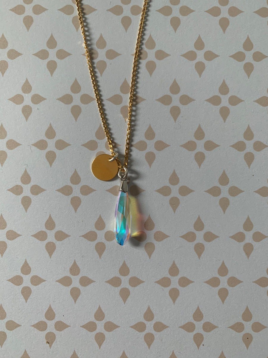 24K Gold Plated Silver Aurora Tear-drop Disc Initial Pendant Necklace