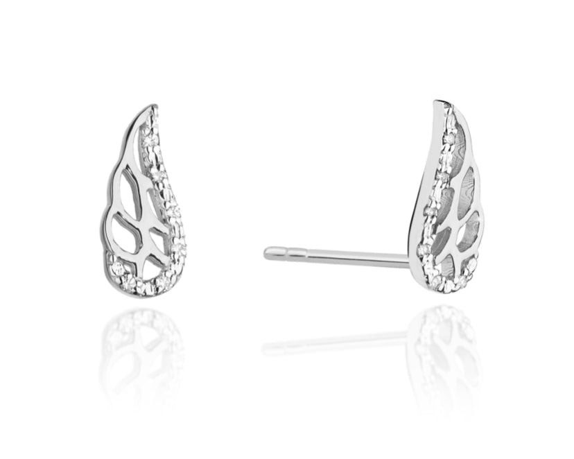 14K Gold Diamond Wing Earrings RCK-01 0,06CT