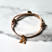 Load image into Gallery viewer, Friendship Bracelets with 24K Yellow Gold Plated Sterling Silver 925 Initial on a Cord