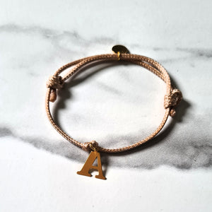 Friendship Bracelets with 24K Yellow Gold Plated Sterling Silver 925 Initial on a Cord