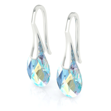 Load image into Gallery viewer, Blue Aurora Borealis Drop Earrings