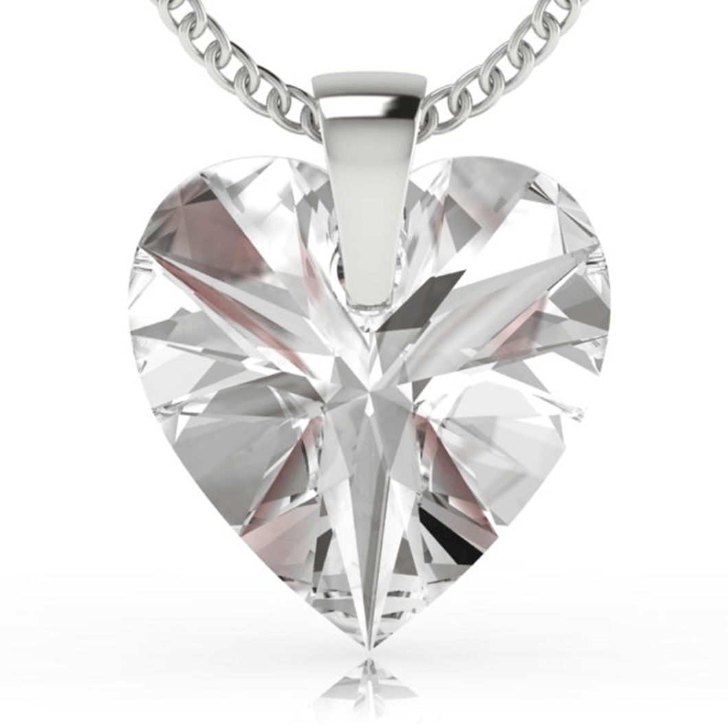 Clear Heart Pendant Necklace