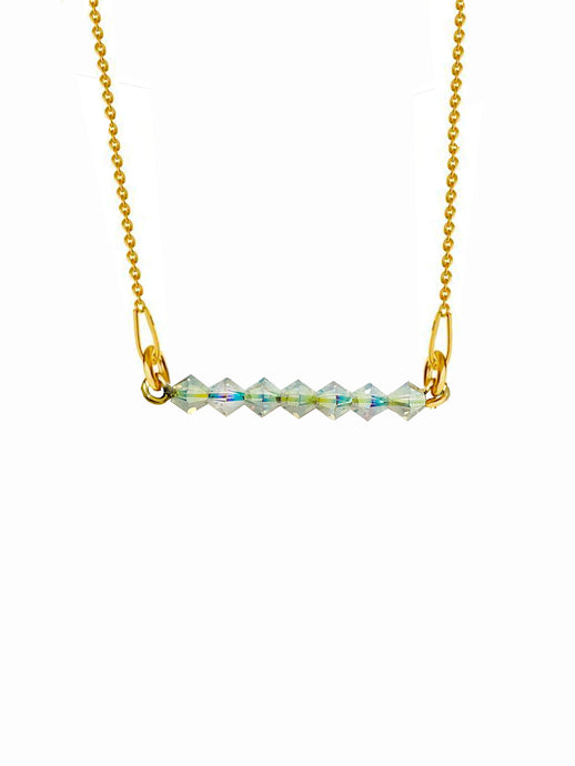 Beaded Aurora Borealis 24K Yellow Gold Plated Sterling Silver 925 Necklace with Swarovski Crystals