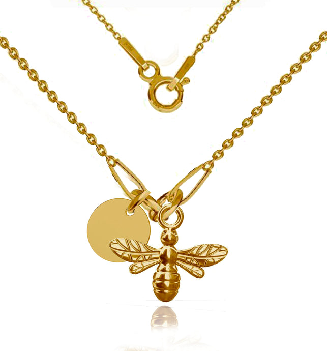 24K Gold Plated Sterling Silver Customised Bee Necklace