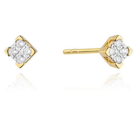 14K Gold Diamond Square Earrings RKO-402 0,16CT