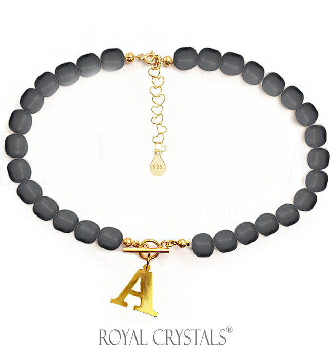 STATUS Dark Grey Pearl Initial Necklace (Choker) with Swarovski Crystal Pearls 24K Gold Plated Silver