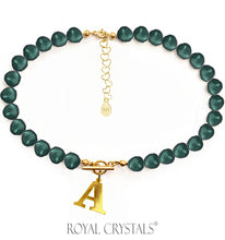 Load image into Gallery viewer, STATUS Dark Green Pearl Initial Necklace (Choker ) with Swarovski Crystal Pearls 24K Gold Plated Silver
