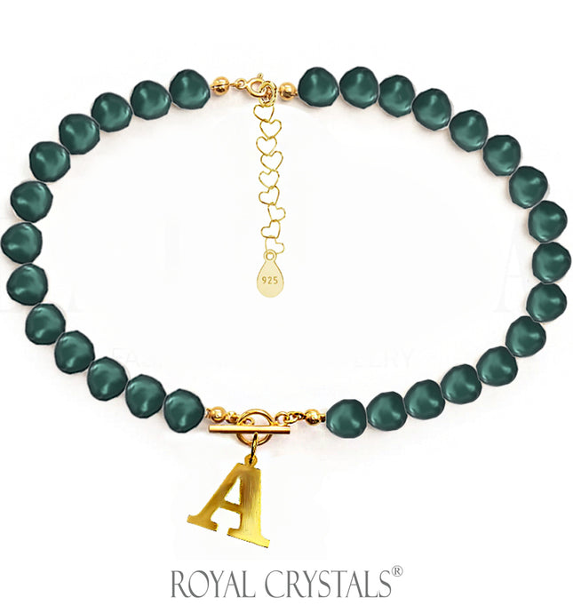 STATUS Dark Green Pearl Initial Necklace (Choker ) with Swarovski Crystal Pearls 24K Gold Plated Silver