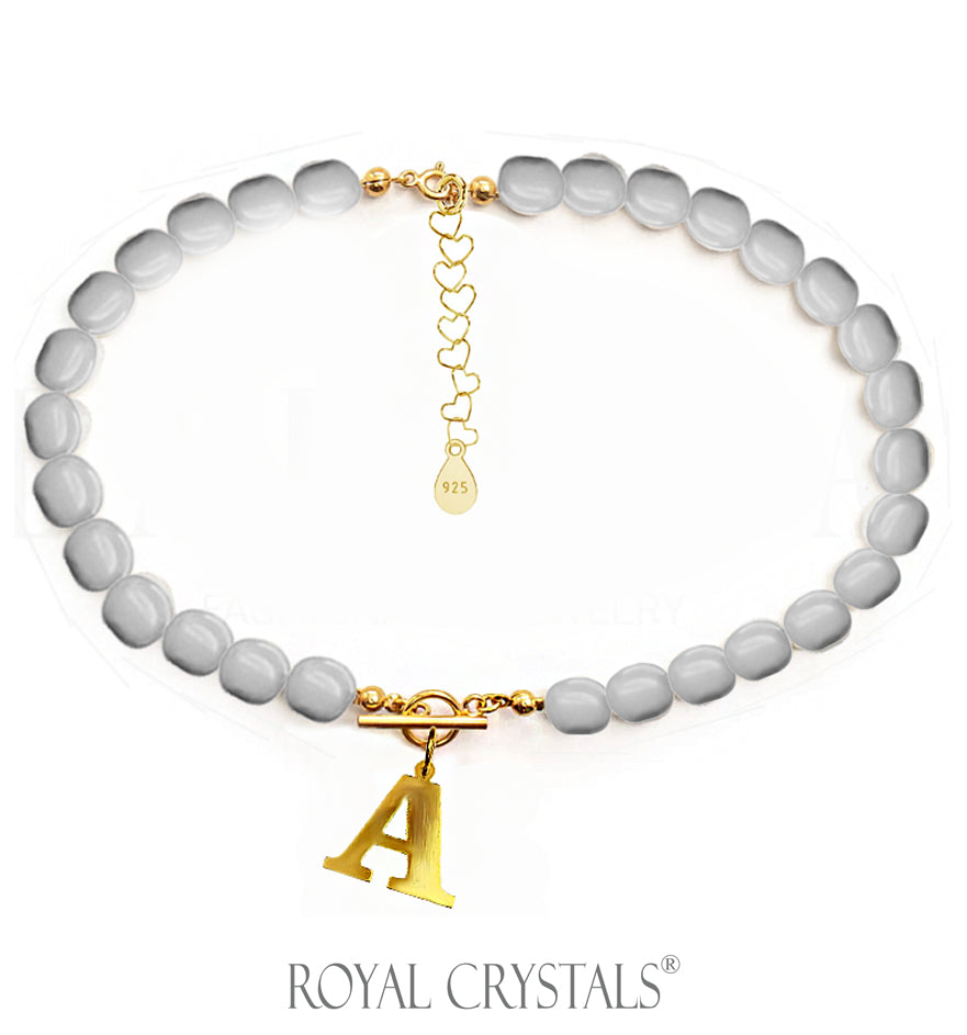 STATUS Grey Pearl Initial Necklace (Choker) with Swarovski Crystal Pearls 24K Gold Plated Silver