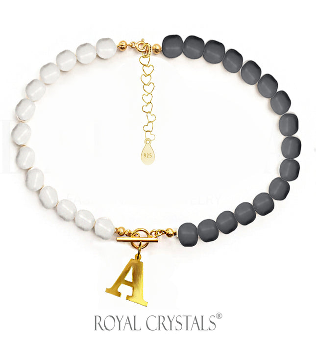 STATUS Half Dark Grey Pearl Initial Necklace (Choker ) with Swarovski Crystal Pearls 24K Gold Plated Silver