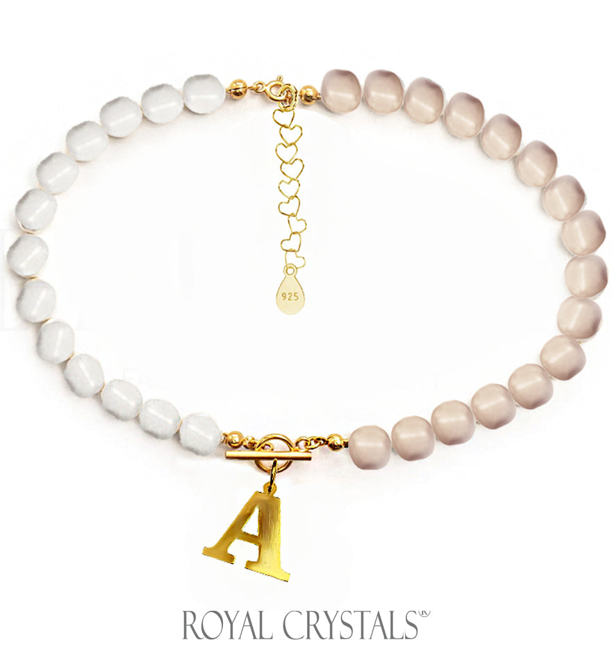 Status  Half White Rose Gold Pearl Initial Necklace (Choker )with Swarovski Crystal Pearls 24K Gold Plated Silver