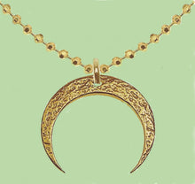 Load image into Gallery viewer, 24K Yellow Gold Two Horns Cresent Moon Sterling Silver  Necklace