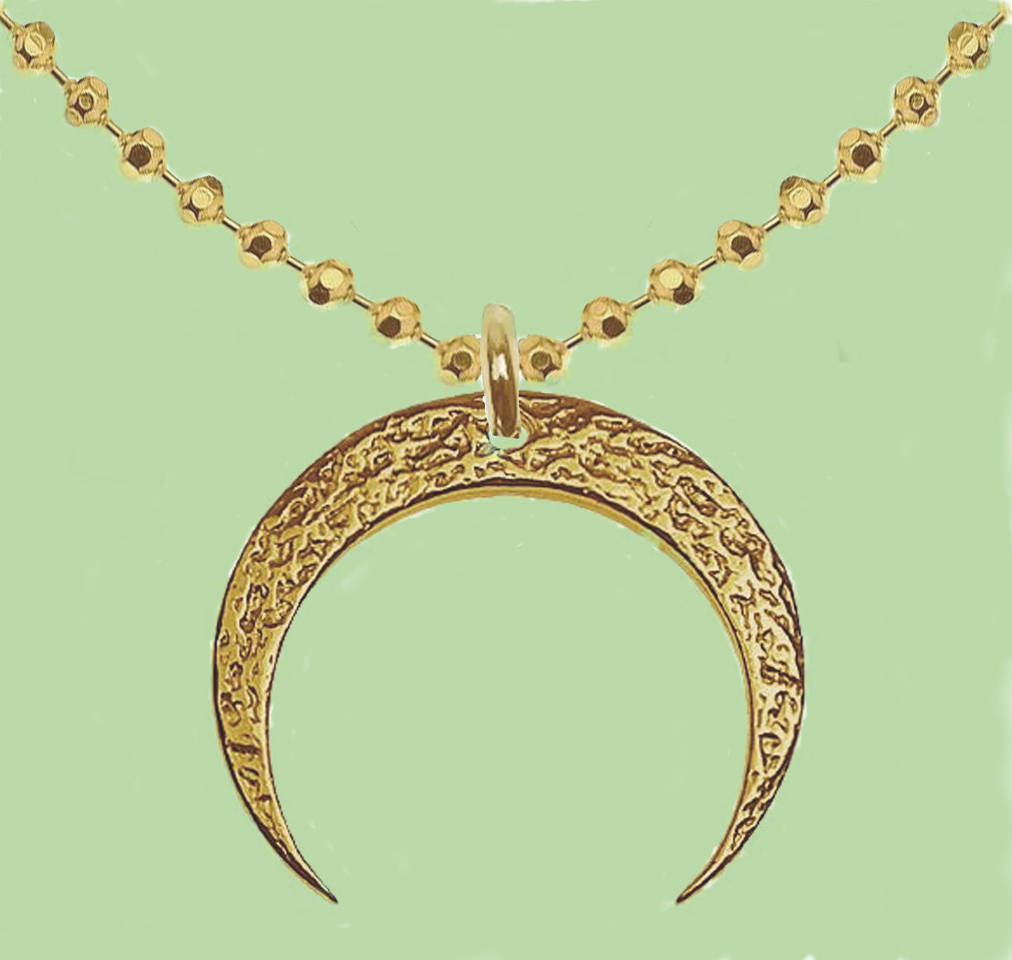 24K Yellow Gold Two Horns Cresent Moon Sterling Silver  Necklace