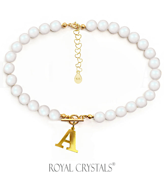 STATUS Pearelescent Pearl Initial Necklace (Choker) with Swarovski Crystal Pearls 24K Gold Plated Silver