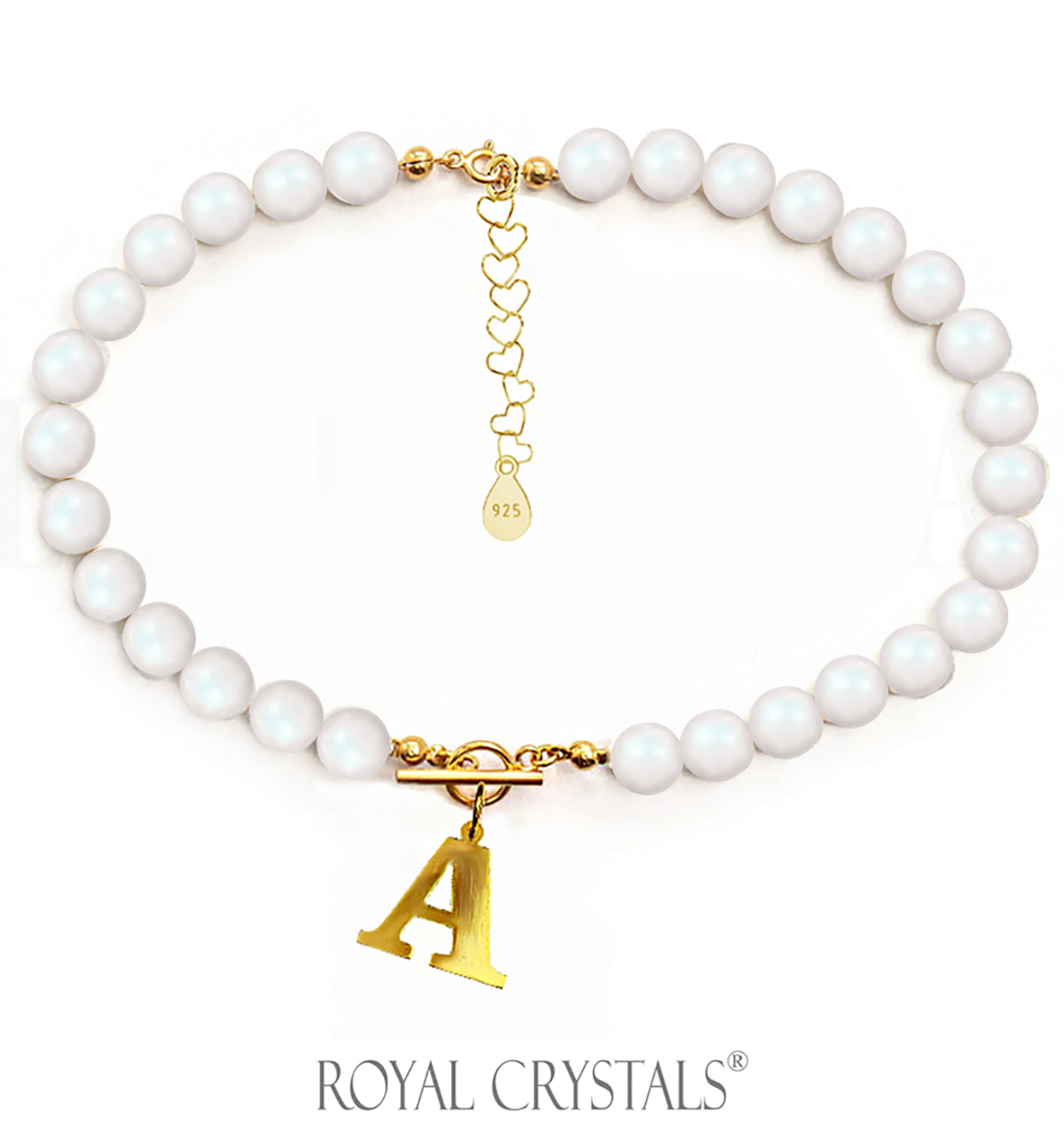 STATUS Pearelescent Pearl Initial Necklace (Shocker) with Swarovski Crystal Pearls 24K Gold Plated Silver