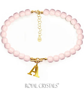 STATUS Half Pink Pearl Initial Necklace (Shocker) with Swarovski Crystal Pearls 24K Gold Plated Silver