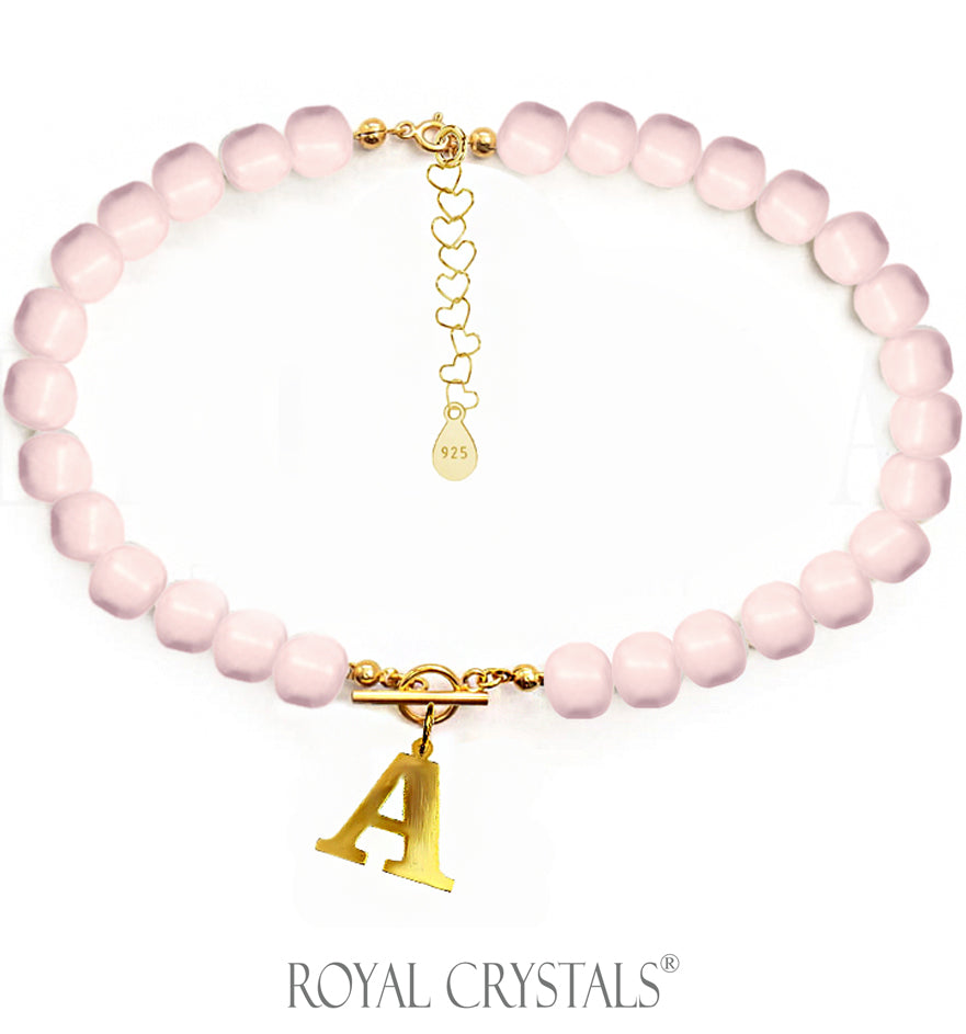 STATUS Half Pink Pearl Initial Necklace (Choker) with Swarovski Crystal Pearls 24K Gold Plated Silver