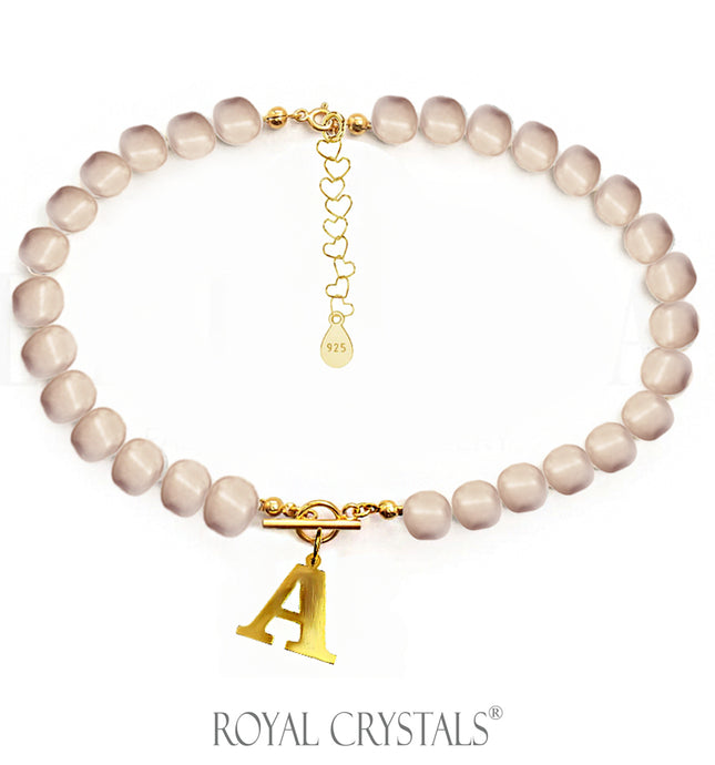 Status Rose Gold Pearl Initial Necklace (Choker ) with Swarovski Crystal Pearls 24K Gold Plated Silver