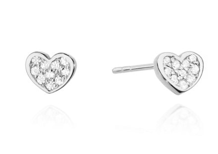 14K Gold Diamond Mini Heart Earrings RCK-21 0,17CT