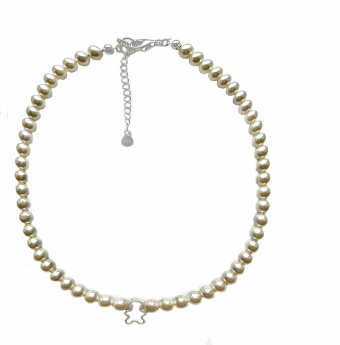 Swarovski Crystal Cream Pearls Choker with Teddy Bear Charm Necklace