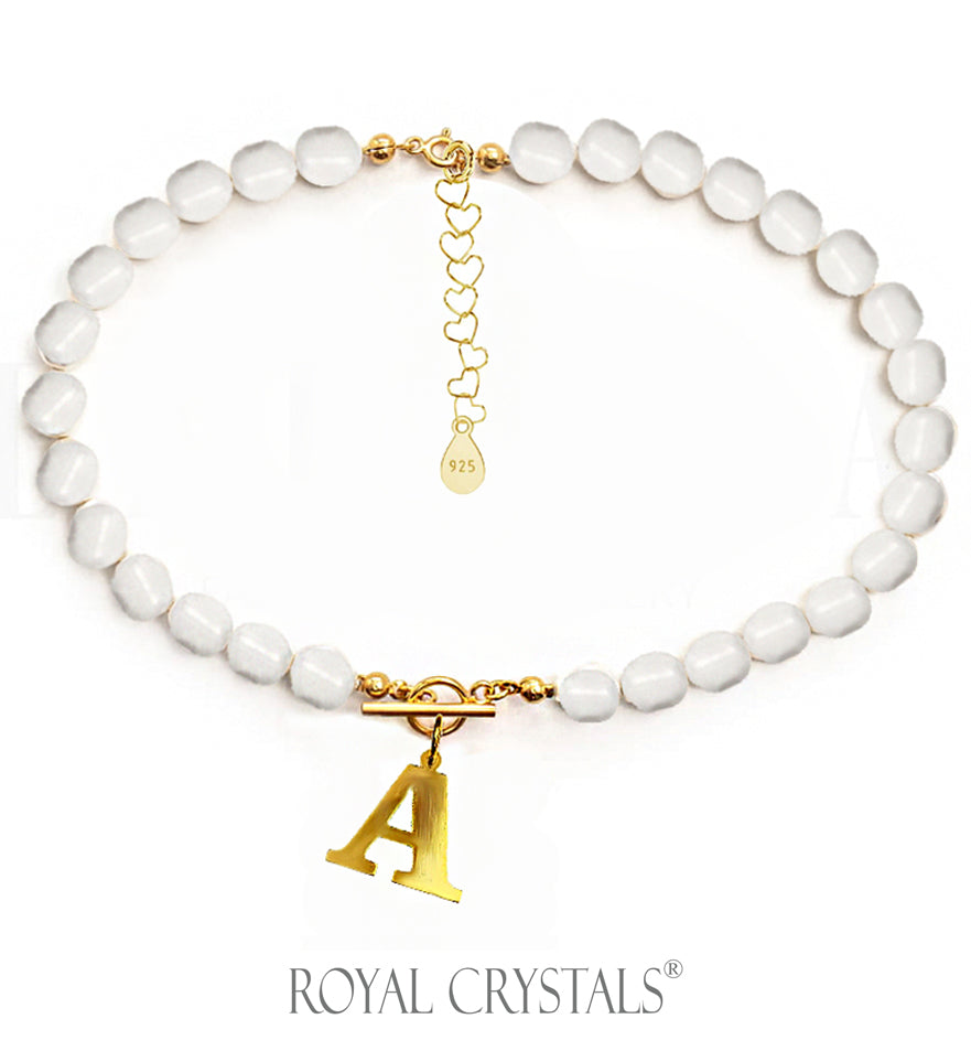 Status White Pearl Initial Necklace (Choker) with Swarovski Crystal Pearls 24K Gold Plated Silver