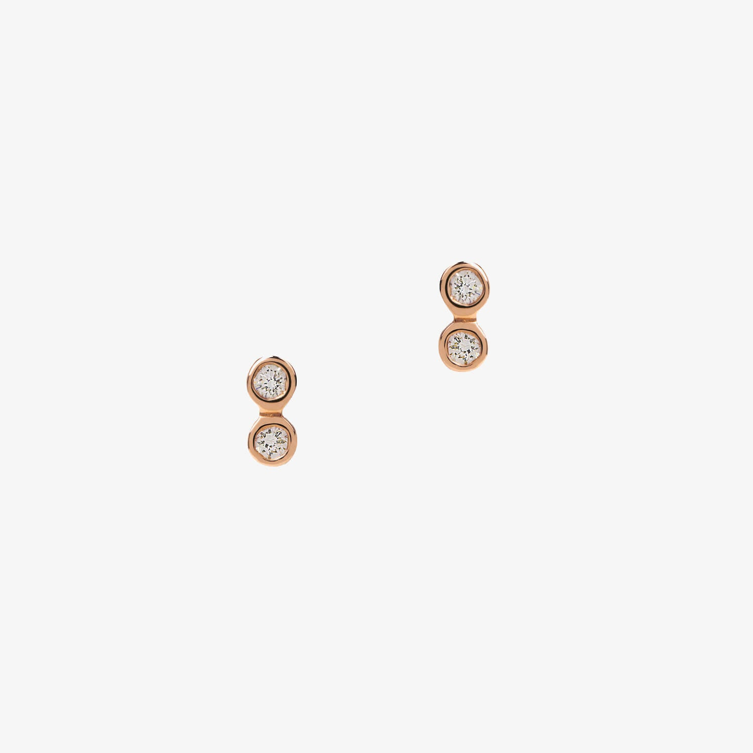Diamond Tiny Double Tube Studs Rose Gold