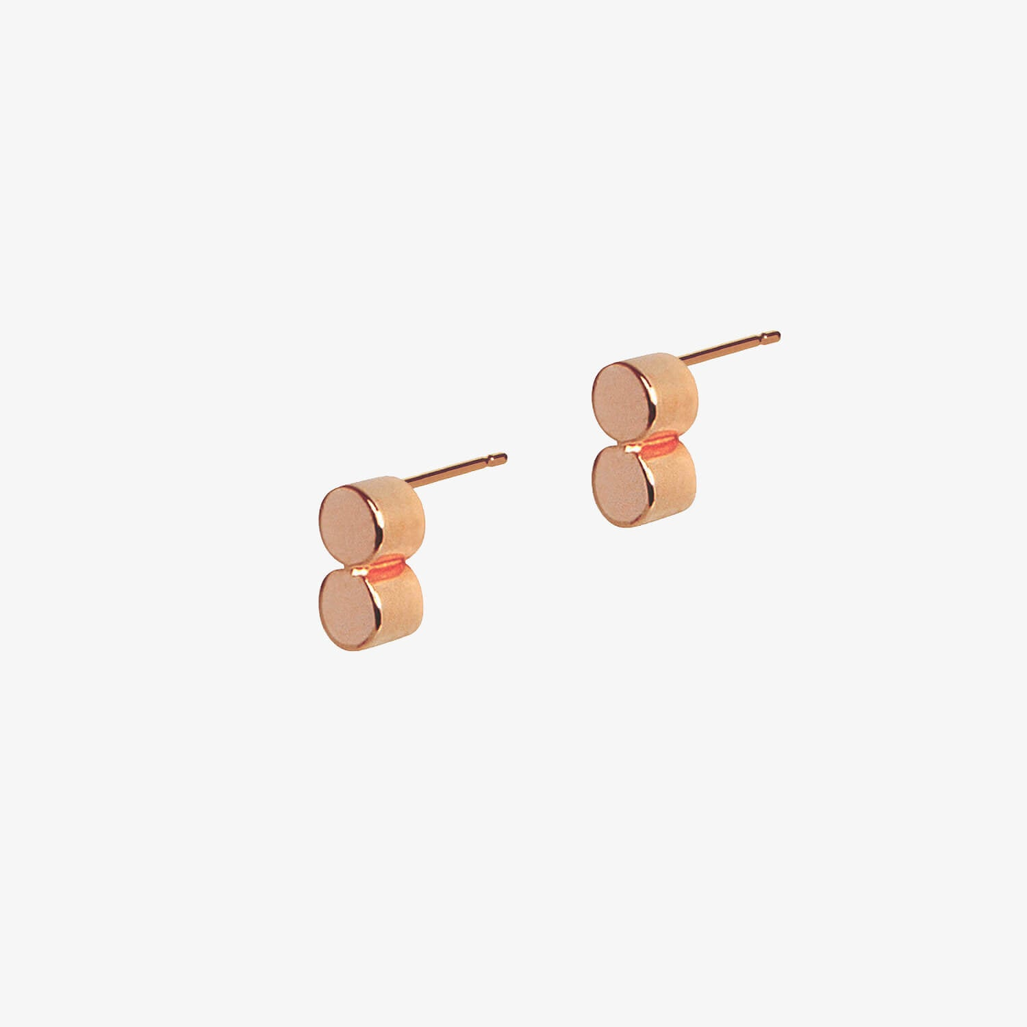 Double Dot Studs Rose Gold